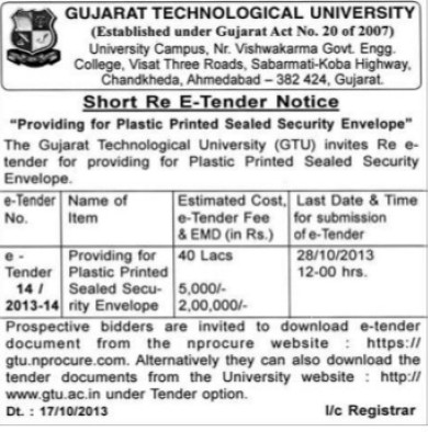 Supply of Platic Printed sealed security envelope (Gujarat Technological University)