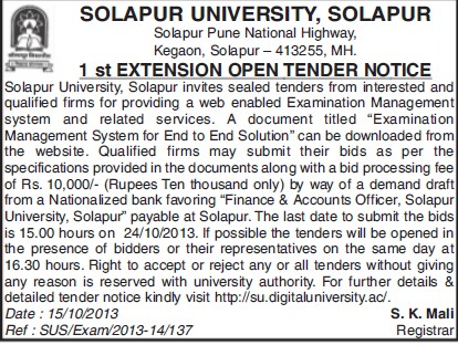 Provide web enabled examination management system (Solapur University)