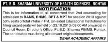 BAMS and MPT courses (Pt BD Sharma University of Health Sciences (BDSUHS))