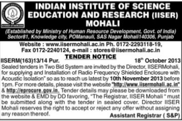Supply of Radio frequency shielded enclosure (Indian Institute of Science Education and Research (IISER))