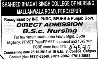 BSc Nursing course (Shaheed Bhagat Singh College of Nursing)