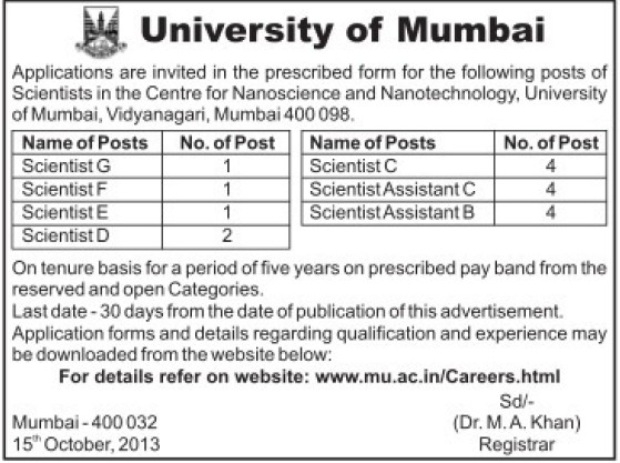 Scientist F, E, D, G, C and B (University of Mumbai (UoM))
