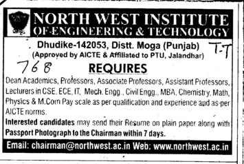 Asstt Professor and Lecturer (North West Institute of Engineering and Technology NWIET Moga)
