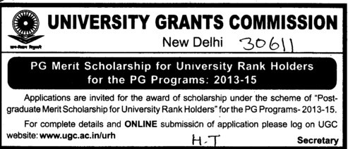 PG Merit Scholarship for University Rank holders (University Grants Commission (UGC))