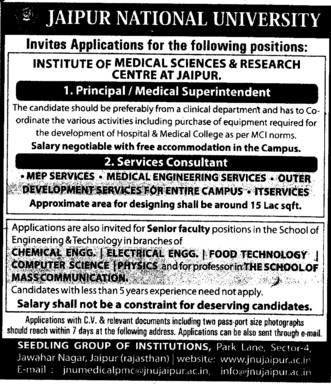 Medical Superintendent and Service Consultant (Jaipur National University)