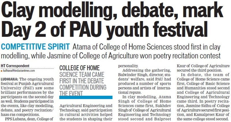 Clay modelling, debate, mark day 2 of PAU youth fest (Punjab Agricultural University PAU)