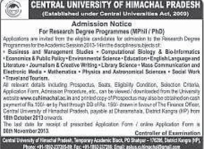 Research Degree Programmes (Central University of Himachal Pradesh)