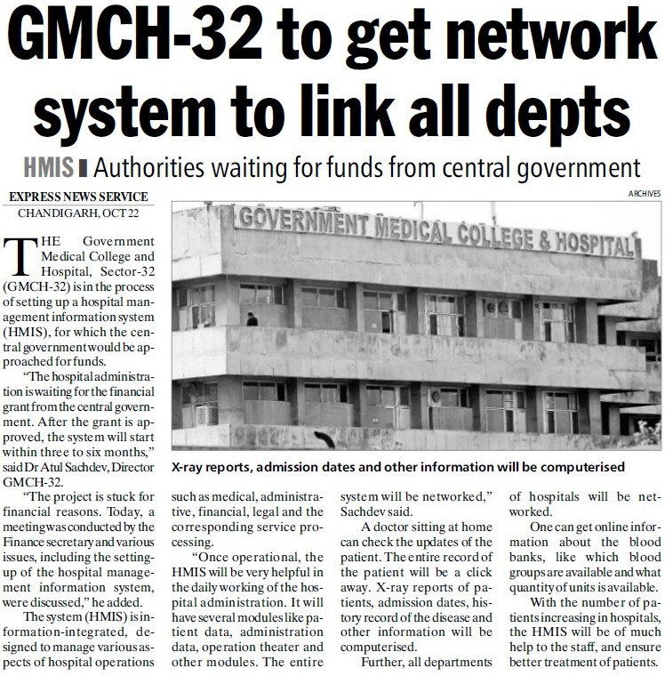 GMCH get network system to link all depts (Government Medical College and Hospital (Sector 32))