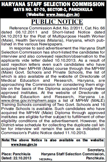 Multipurpose Health Worker (Haryana Staff Selection Commission (HSSC))