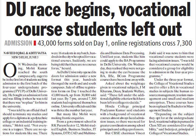 DU race begins, vocational course students left out (Delhi University)