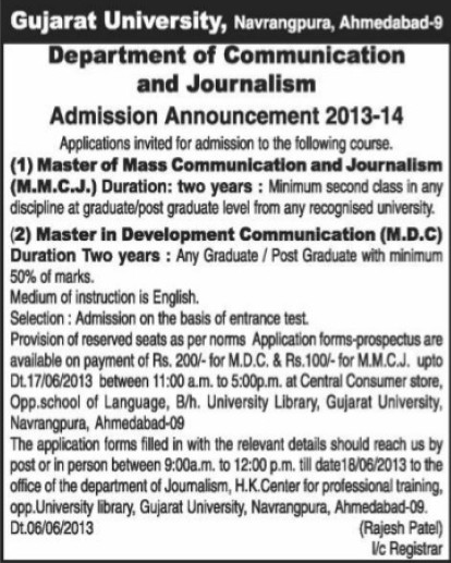 Master of Mass Communication and Journalism (Gujarat University)