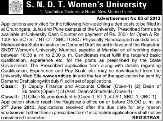 Non teaching posts (SNDT Women University)