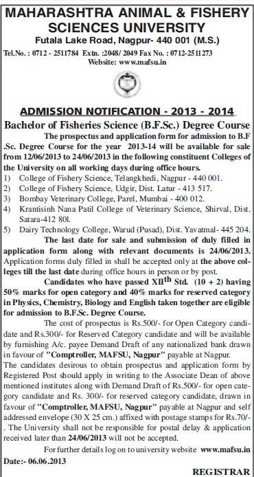 Bachelor of Fisheries Science (Maharashtra Animal and Fishery Sciences University)