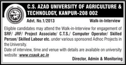 Project Associate (Chandra Shekhar Azad University of Agriculture and Technology (CSAUK))