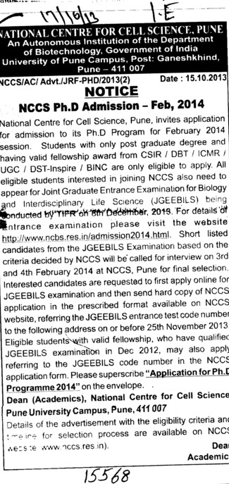 NCCS PhD Course (National Centre for Cell Sciences)
