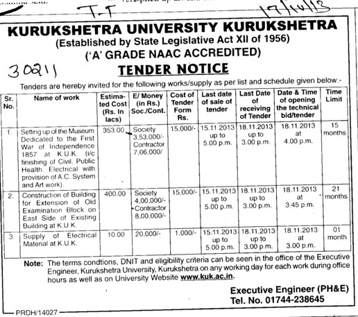 Construction of Building (Kurukshetra University)