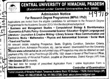 Research Degree courses (Central University of Himachal Pradesh)