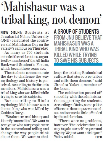Mahishasur was tribal king, not demon (Jawaharlal Nehru University)