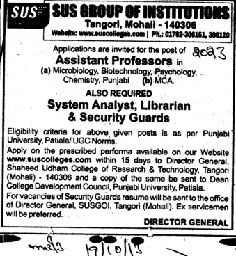 System Analyst (SUS Group of Institutions)