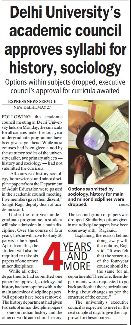 DU academic council approves syllabi for history, sociology (Delhi University)