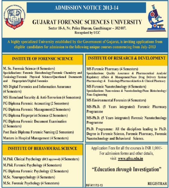 MSc in Forensic Science (Gujarat Forensic Sciences University)