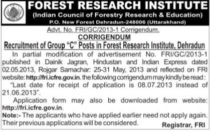 Group C posts in Forest Research Institute (Forest Research Institute)