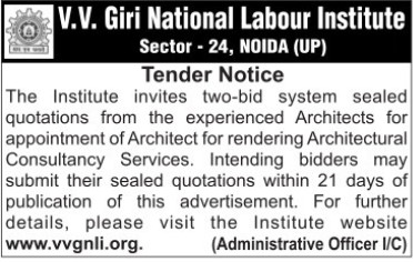 Appointment of Architect (VV Giri National Labour Institute (VVGNLI))