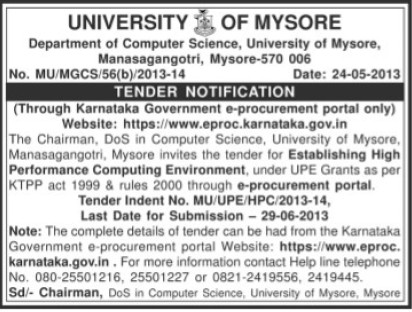 High Performance computing Environment (University of Mysore)
