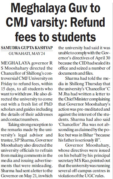 Meghalaya Guv to CMJ varsitym refund fees to students (Chander Mohan Jha (CMJ) University)