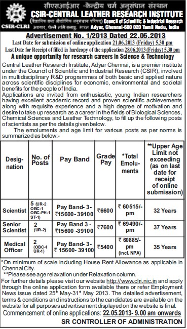 Scientist and Medical Officer (Central Leather Research Institute)