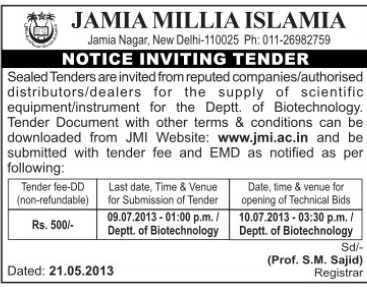 Supply of Scientific equipment (Jamia Millia Islamia)