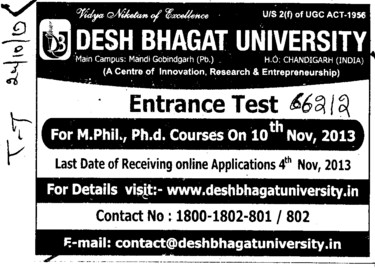 M Phil and PhD course (Desh Bhagat University)