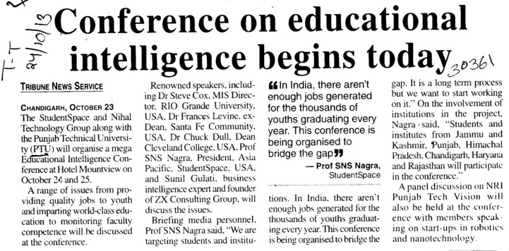 Conference on educational intelligence begins today (IK Gujral Punjab Technical University PTU)