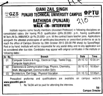 Asstt Professor (Giani Zail Singh College of Engineering and Technology GZCET)