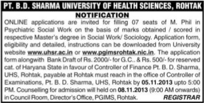 M Phil in Psychiatric (Pt BD Sharma University of Health Sciences (BDSUHS))