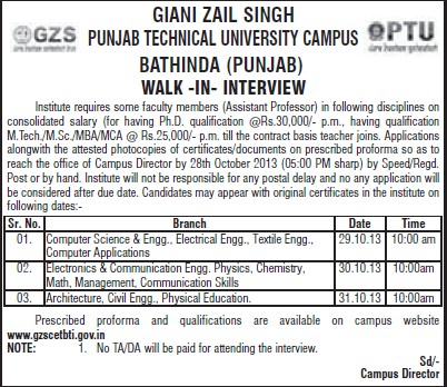 Asstt Professor for computer science (Giani Zail Singh College of Engineering and Technology GZCET)