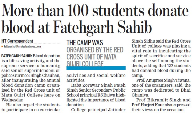 More than 100 students donate blood at Fatehgarh Sahib (Mata Gujri College)