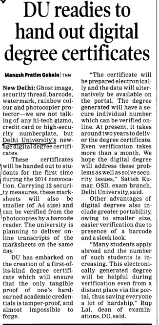 DU readies to hand out digital degree certificates (Delhi University)