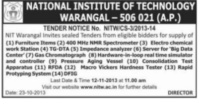 Supply of Eletro Chemical Workstation (National Institute of Technology NIT)