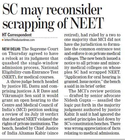 SC may reconsider scrapping of NEET (Medical Council of India (MCI))