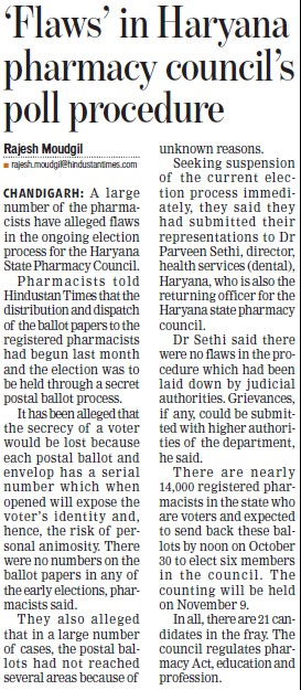 Flaws in Haryana pharmacy councils poll procedure (Haryana State Pharmacy Council)