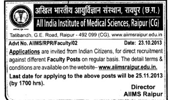 Faculty posts on regular basis (All India Institute of Medical Sciences (AIIMS))