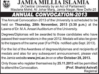 Annual convocation 2013 held (Jamia Millia Islamia)