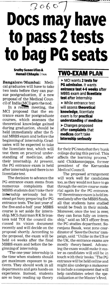 Docs may have to pass 2 tests to bag PG seats (Medical Council of India (MCI))