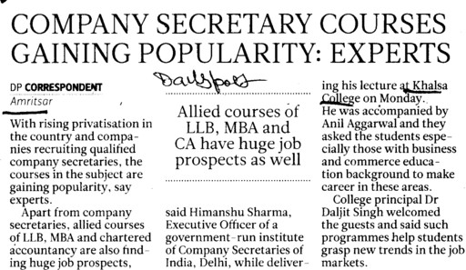 Company secretary courses gaining popularity, experts (Khalsa College)