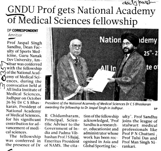 GNDU prof gets National Academy of Medical Sciences fellowship (Guru Nanak Dev University (GNDU))