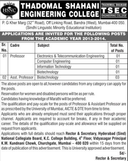 Asstt Professor in Biotechnology (Thadomal Shahani Engineering College)