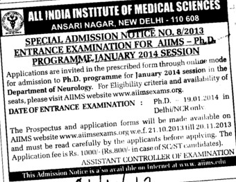 Entrance examination for PhD Programme (All India Institute of Medical Sciences (AIIMS))