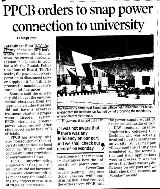 PPCB orders to snap power connection to University (DAV University)
