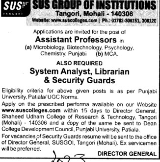 System Analyst and Security Guards (SUS Group of Institutions)